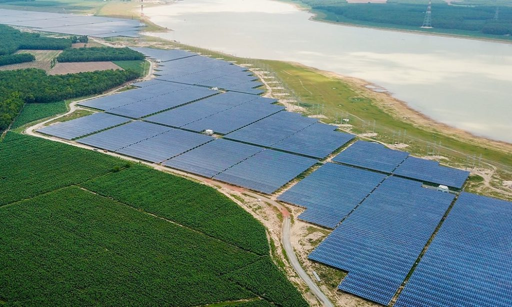 Solar panels seen at a power plant in Tay Ninh Province